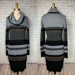LOFT Dress Black Gray Long Sleeve Sweater Cowl